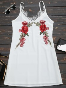 Lace Insert Floral Embroidered Slip Dress