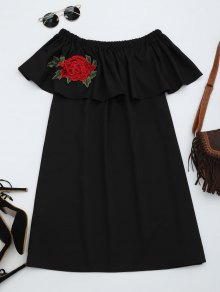 Floral Patched Flounce Shift Dress - Black