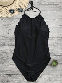Scalloped High Neck Swimwear