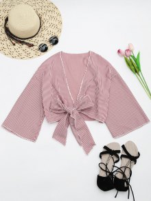 Self Tie Cropped Striped Blouse