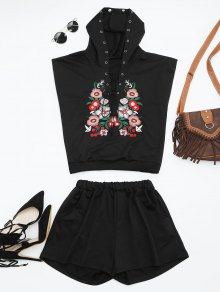 Floral Patched Hooded Two Piece Suit