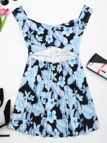 Floral Print Cut Out Flare Dress - Black S