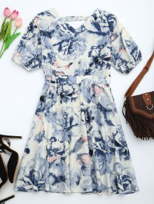 Puff Sleeve Floral Print Cut Out Dress