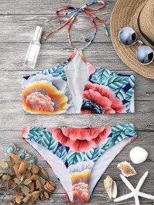 Floral Mesh Padded Halter Bikini Set