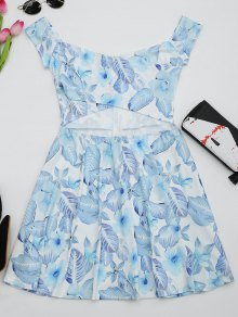 Floral Print Cut Out Flare Dress