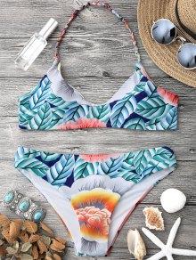 Printed Halter Bralette Bikini Top And Bottoms - Multicolor L