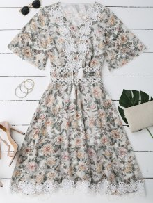 Lace Up Plunging Neck Floral Dress
