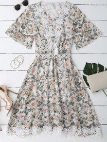 Lace Up Plunging cuello vestido floral