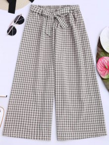 Houndstooth Wide Leg Gaucho Pants