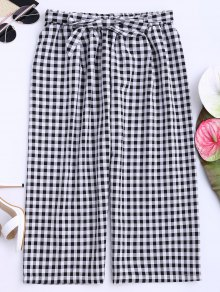 Gingham Wide Leg Culotte Gaucho Pants