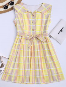 Plaid Flared Shirt Dress With Belt - Yellow M