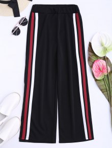 Side Tape Cropped Wide Leg Pants - Black