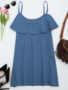 Flounce Cami Shift Dress - Denim Blue M