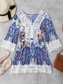 Crochet Insert Paisley Floral Print Mini Dress