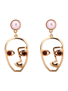 Rhinestone Faux Pearl Face Earrings
