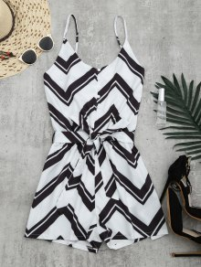 Belted Zigzag Cami Romper - White S