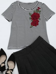 Round Collar Floral Patched Striped Tee