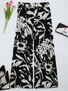 High Waist Printed Wide Leg Pants - Black L