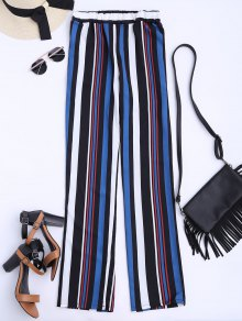 Striped Straight Cut Flowy Pants - Multicolor L