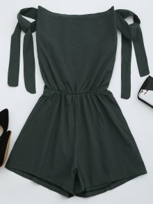 Off The Shoulder Self Tie Sleeve Romper - Deep Gray M