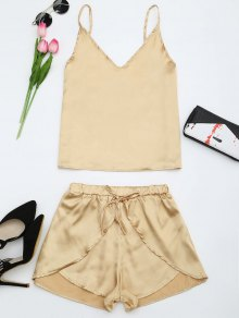 Cami Satin Two Piece Suits - Golden L