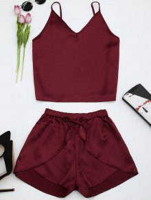 Cami Satin Two Piece Suits - Wine Red Xl