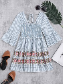 Square Neck Striped Smocked Babydoll Top