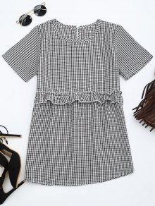 Round Collar Ruffle Hem Checked Blouse