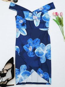 Off The Shoulder Floral Print Sheath Dress - Deep Blue Xl