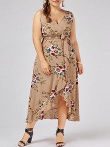 Plus Size Tiny Floral Overlap Flounced Flowy Beach Dress - Apricot 4xl