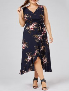 Plus Size Tiny Floral Overlap Flounced Flowy Beach Dress - Purplish Blue Xl