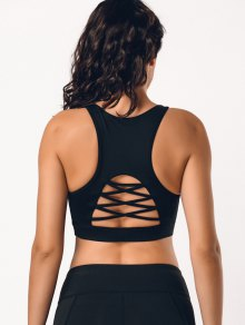 Back Strappy Cutout Mesh Panel Sporty Bra - Black S