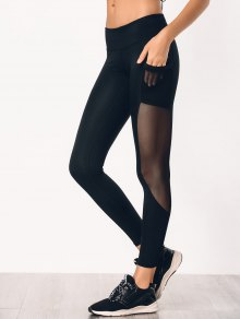 See Through Pocket Mesh Panel Activewear Leggings - Black S