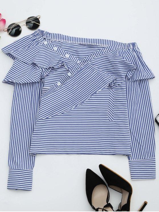 shop Convertible Collar Ruffle Hem Striped Blouse - STRIPE M
