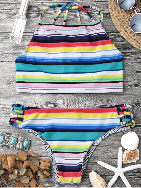 fancy High Neck Multi Striped Strappy Bikini Set - MULTICOLOR S