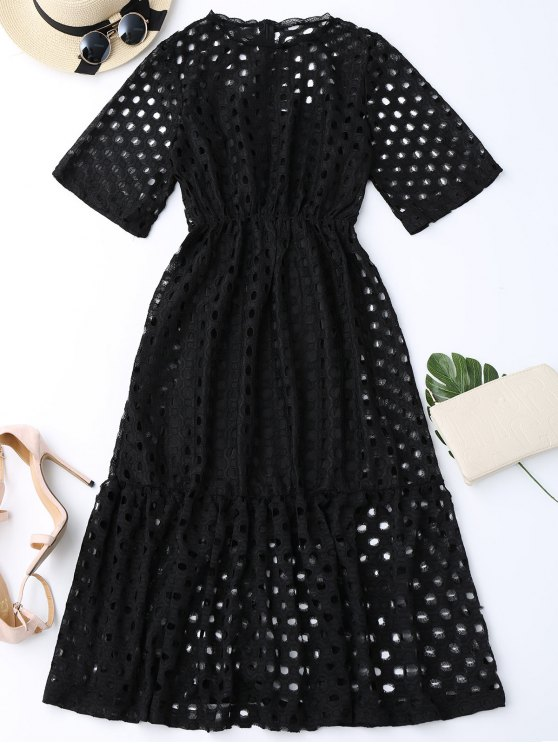 new Hollow Out Ruffle Dress with Tank Top - BLACK M