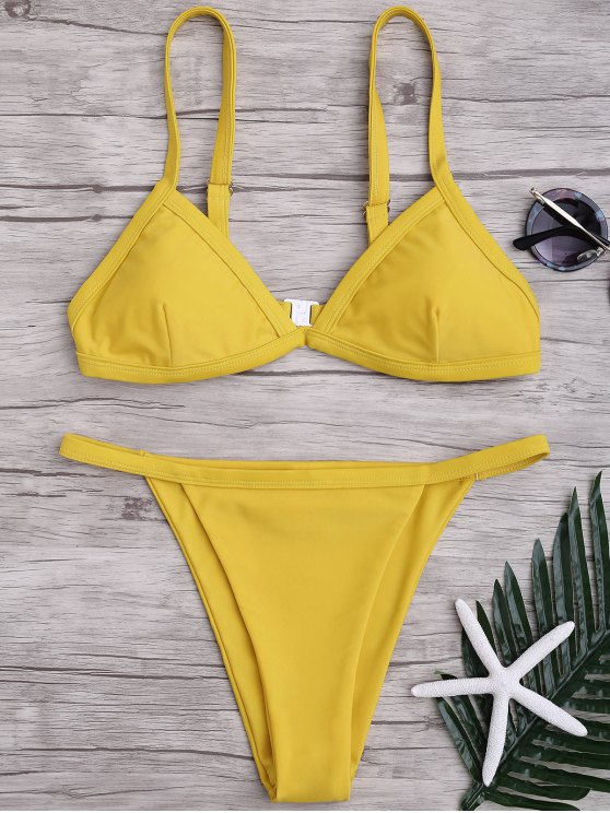 womens Solid Color Spaghetti Straps Low Waisted Bikini Set - YELLOW M