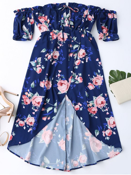outfit Off Shoulder High Low Floral Dress - PURPLISH BLUE M