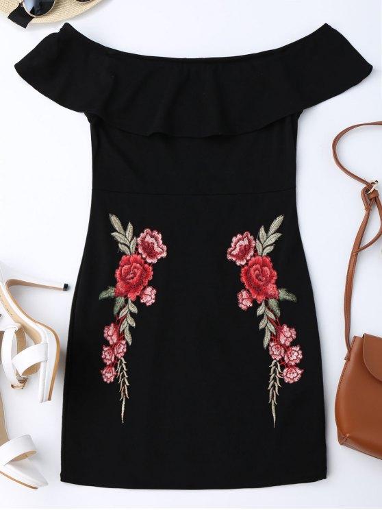 Bordados volantes de hombro Bodycon vestido - Negro L