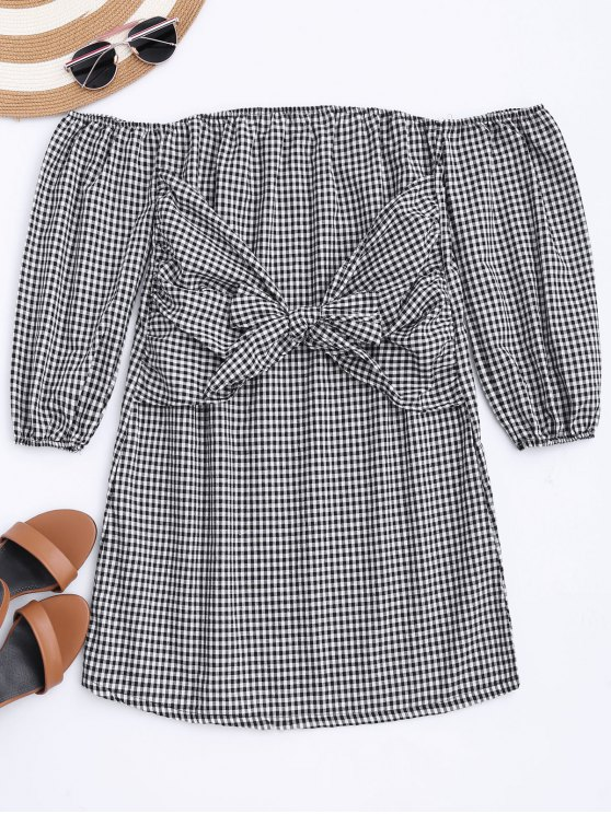 women Off The Shoulder Bowknot Checked Dress - CHECKED M
