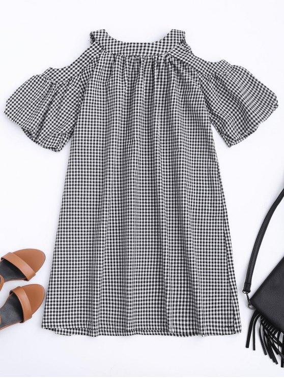 Vestido de manga corta con mangas frías - Comprobado L