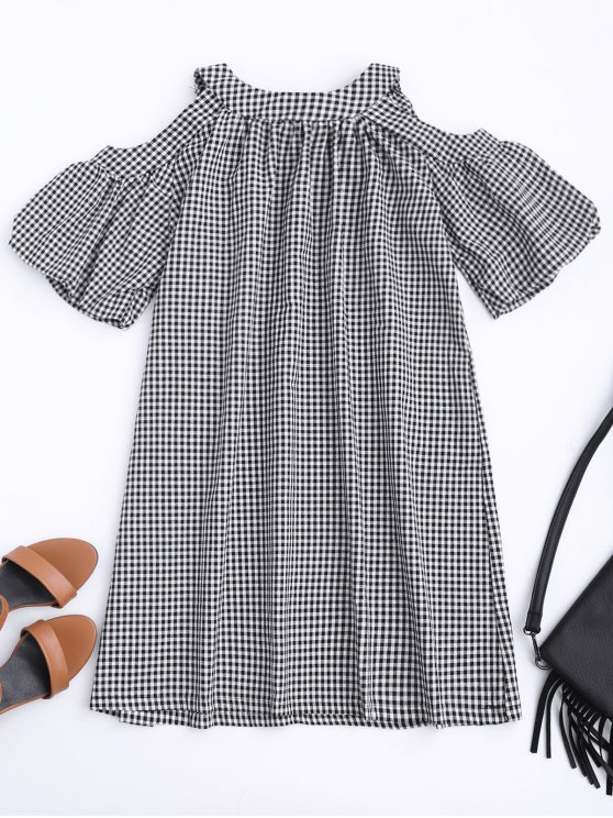 new Cold Shoulder Puff Sleeve Checked Dress - CHECKED XL