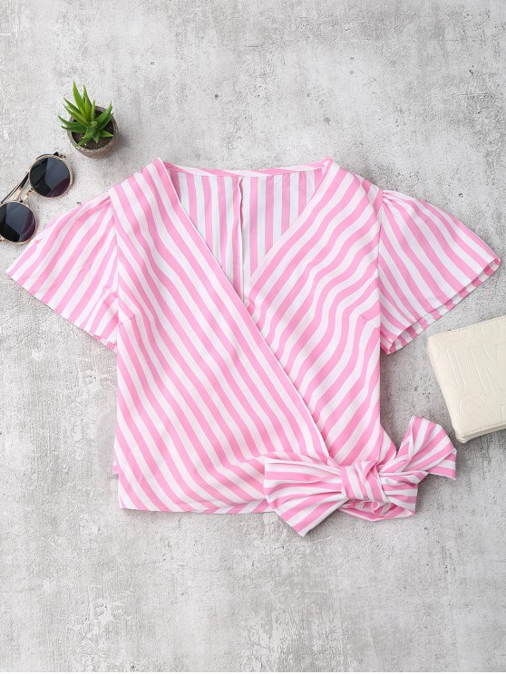 affordable Striped Wrap Cropped Top - PINK S