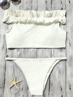Off The Shoulder Frilled Bikini Set - Off-white S