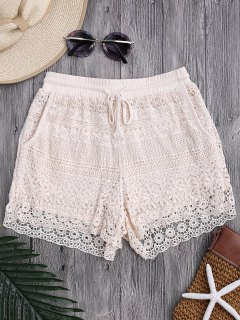 Pockets Lined Drawstring Crochet Cover Up Shorts - Off-white
