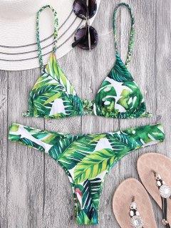 Braided Straps Leaf Print Thong Bikini - Floral M