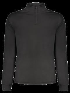 Stand Collar Long Sleeve Half Zip Top - Black 2xl
