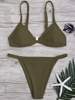 Solid Color Spaghetti Straps Low Waisted Bikini Set - Army Green S