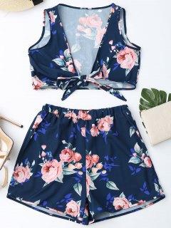 Knot Hem Floral Crop Top Et Shorts - Bleu Violet Xl