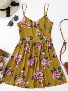 Cutout Back Floral Slip Mini Dress - Floral